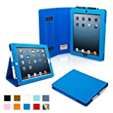 Snugg iPad 4 & iPad 3 Case – PU Leather Case Cover and Flip Stand with Elastic Hand Strap and Premium Nubuck Fibre Interior (Electric Blue) – Automatically Wakes and Puts the iPad 4 & 3 to Sleep. Superior Quality Design as Featured in GQ Magazine