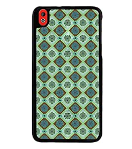 Fuson Premium 2D Back Case Cover Green coloured checks pattern With Brown Background Degined For HTC Desire 826::HTC Desire 826 Dual