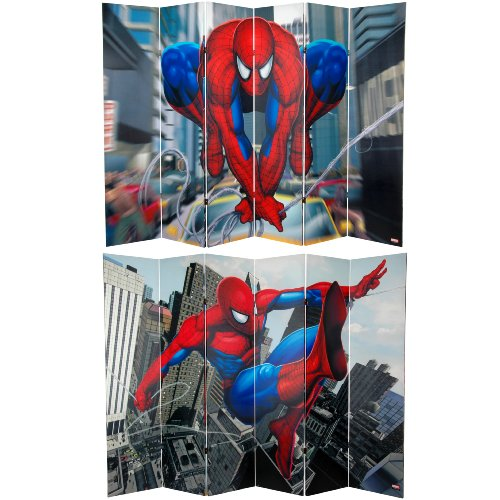 """71"""" x 94.5"""" Tall Double Sided Spider-Man Web-Slinger 6 Panel Room Divider CAN-SP-666"""