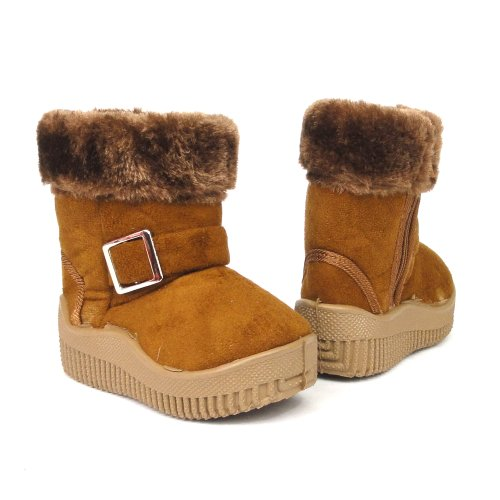 Baby Infant Girls Winter Faux Fur Suede Buckle Boots Brown , 7