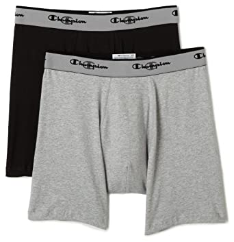 Champion Men's Double Dry Activefit 2-Pack Boxer Brief, Grey/Black, Small