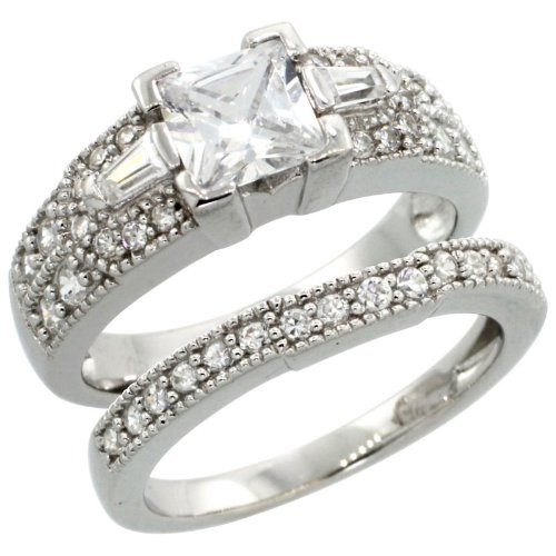 Sterling Silver Vintage Style 2-Pc. Square Engagement Ring Set W/ Princess (6Mm) & Brilliant Cut Cz Stones, 9/32 In. (7.5Mm) Wide, Size 6