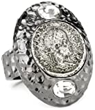 51hGCOINtwL. SL160  TAT2 Designs Pavia Hammered Gunmetal Clear Crystal and Antique Silver Coin with Adjustable Ring