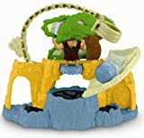This action-packed playset allows you to recreate the adventure of the DreamWorks Animation movie, The Croods. Grug must figure out how to escape the Macawnivore hiding behind the tree but he must be careful! If he gets too close to the rocky ledge, it will fall away and he'll wind up in the tar pit trap! Press the ledge and the tree will spring back, revealing a surprise Macawnivore attack! You can also send the rolling boulder barrelling down into the tar pit or use the rib cage swing to pick Grug up and move him to safety! You can add more action and adventure with additional Croods figures and creatures! Each sold separately and subject to availability.