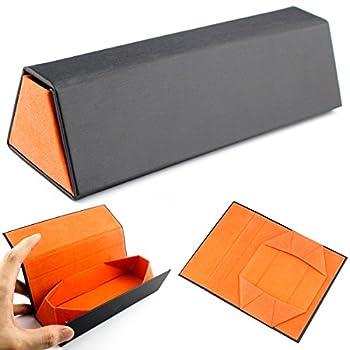 Folding Eyeglasses Case,Ezeso Portable Ultralight Retro Spectacles Box For Men Women