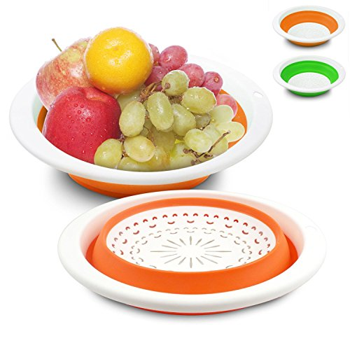 ASSIS Collapsible Silicone Kitchen Colander/Strainer Set of 3 (Coney Island Hot Dog Steamer compare prices)