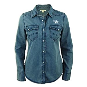 Kentucky Wildcats Ladies Cutter and Buck Long Sleeve Wild Card Denim Shirt by Cutter & Buck