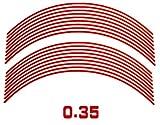 AUTOMAX izumi リム(赤)0.35cm▼直線レッド反射 幅0.4cmリムステッカー14~16インチ対応 リムライン