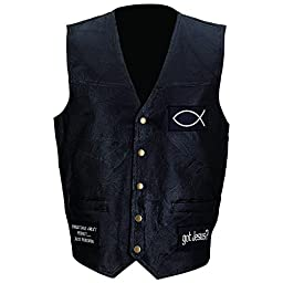 Giovanni Navarre Italian Stone Design Genuine Leather Vest With Christian Patches- M
