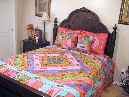 Indian Bedroom Decor Bedding Eclectic Patchwork Tapestry Duvet 5P Coverlet King front-77727