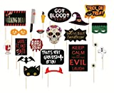 #7: SYGA Halloween Party Photo Booth Props, Multi Colour (Set of 22)