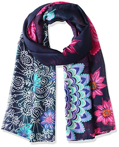 Desigual Foulard_Rectangle New Dance, Scialle Donna, Blu (Navy 5000), Taglia Unica (Taglia Produttore: One Size)