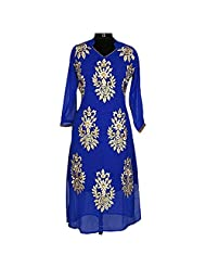 Dark Blue Georgette Party Wear Kurti With Golden Patchwork