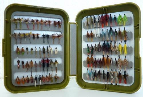 fly fishing tackle fly box and 100 flies