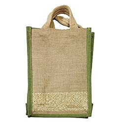 Party Propz Jute lunch bag/ Carry Bag/ Hand Bag, Medium Size (Height:14in, Lenght: 9in, Width: 4.5in)/ Jute Bag for Lunch 1pcs