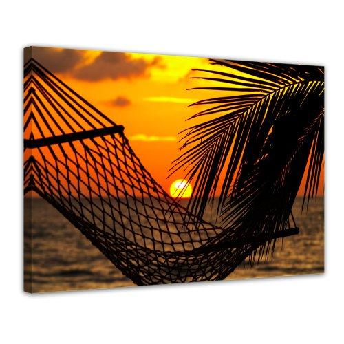 Bilderdepot24 Leinwandbild Palmen, Hängematte und Sonnenuntergang - 70x50 cm 1 teilig - fertig gerahmt, direkt vom Hersteller