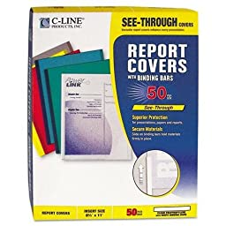 C-Cline 32457 Polypropylene Report Covers w/Binding Bars, Economy, Clear, 11 x 8 1/2, 50/BX