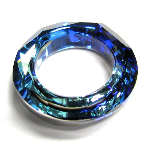 1 pc Swarovski Crystal 4139 Round Cosmic Ring Frame Charm Pendant Bermuda Blue 20mm / Findings / Crystallized Element (Bermuda Blue Crystal Ring compare prices)