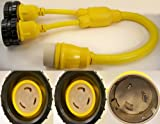 50 Amp Male to (2) L5-30 Female Y Adapter with LED Indicators