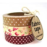 BURGUNDY & TAUPE FLORAL & DOTS SET OF 3 ROLLS COTTON FABRIC STICKY ADHESIVE DECORATIVE TAPE TRIM CRAFT DIY WRAP