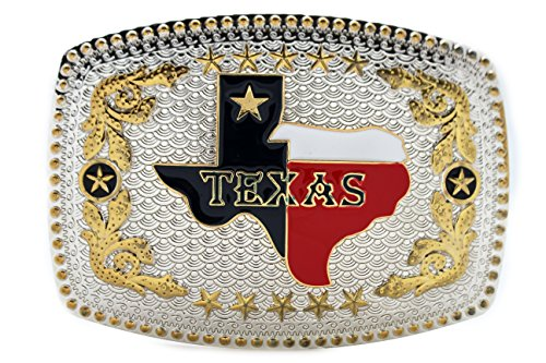 TFJ Men Fashion Belt Buckle Western Fashion Silver Metal State of Texas Big Map USA