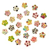 niceeshop(TM) 17mm Beautiful Hand Painted Flower Shape Wood Buttons,Colorful Design