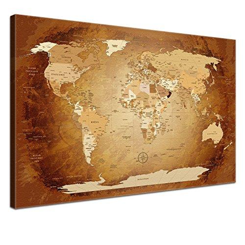 Lana-KK-Carte-du-monde-sur-toile-avec-face-arrire-en-lige-pour-pinnen-la-Voyage-Objectifs-Worldmap-acier-gris-franais-dart-de-Tableau-en-gris-3-mont-sur-chssis-150-x-100-cm