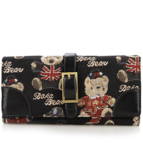 Daka Bear Jazz Bear Black Leather Needle Buckle Flip Wallet Bag Coin Purse