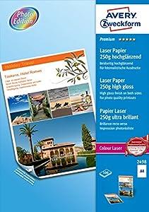 AVERY - 2498 - 100 feuilles de papier photo premium blanc brillant . A4. Impression laser