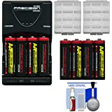 (8) Precision Design AA 2900mAh NiMH Rechargeable Batteries & Charger + Battery Cases + 5 Piece Cleaning Kit For Canon Powershot Nikon Coolpix Sony CyberShot Casio Exilim Kodak EasyShare Fuji Finepix Panasonic Lumix Pentax Optio Samsung Digimax And Ol