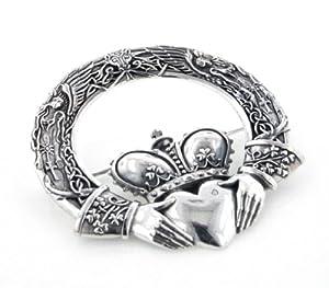 Huge Celtic Claddagh Cloak or Kilt Sterling Silver Pin Brooch by Maxine Miller