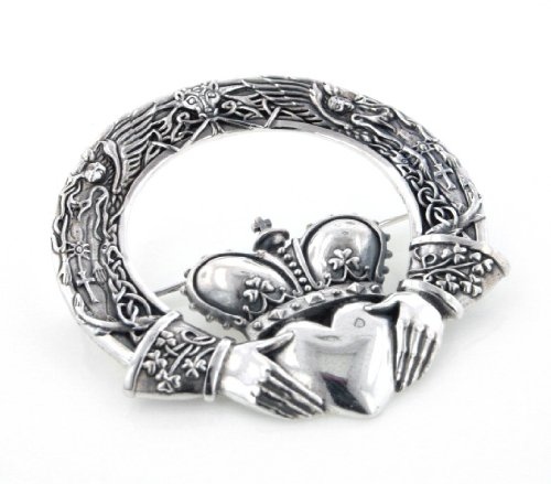 Huge Celtic Claddagh Cloak or Kilt Sterling Silver Pin Brooch by Maxine Miller