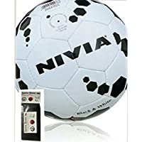 NIVIA BLACK & WHITE FOOT BALL (SIZE-5) WITH FREE SPORTSHOUSE WRIST BAND
