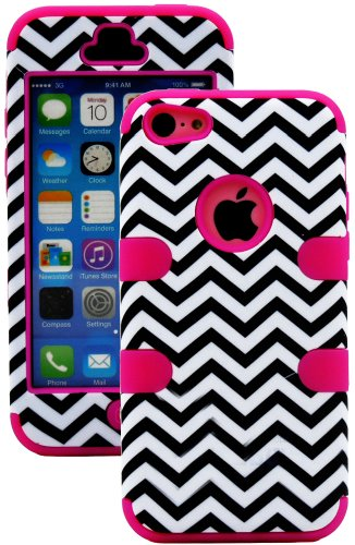 Mylife (Tm) Hot Pink + Black And White Chevron 3 Layer (Hybrid Flex Gel) Grip Case For New Apple Iphone 5C Touch Phone (External 2 Piece Full Body Defender Armor Rubberized Shell + Internal Gel Fit Silicone Flex Protector + Lifetime Waranty + Sealed Insid