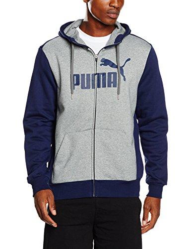 Puma No. 1-Felpa con cappuccio e Zip intera, modello: Peacoat/Grigio, taglia: M