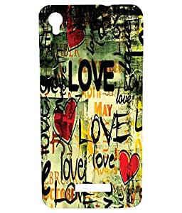Letz Dezine Love Design Printed Mobile Back Cover for GIONEE P5W - Multicolor