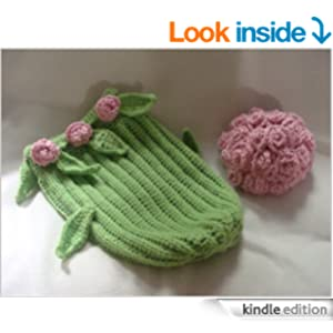 Free Crochet Long Stem Rose Pattern : Long Stem Roses Cocoon and Hat crochet pattern eBook ...