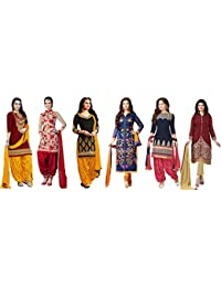 Market Magic World Womens Cotton Silk Salwar Suit(Multicolor_MMW_Combo_7097_Free Size)