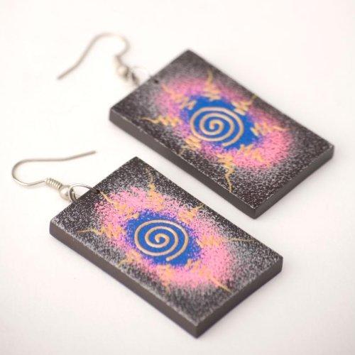 Rectangle spiral swirl gold hippie earrings wood wooden