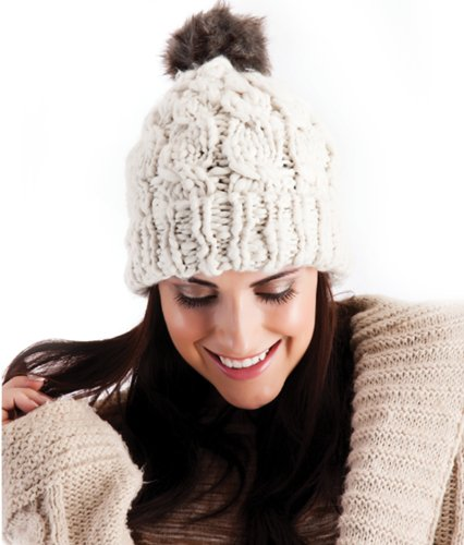 a47ea90d2e5 OCTAVE® Ladies Chunky Bobble Hat – Knitted With Fur Bobble – Grey