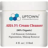 Uptown Cosmeceuticals AHA Cream Cleanser 5% - 4 Oz Facial Cleanser, Highly Moisturizing - Cleanses Deeply - Fights Signs of Aging and Breakouts - Helps Revealing Radiant & Younger Looking Skin