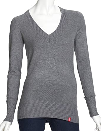 edc by ESPRIT NOOS Sweater N42501 Damen Pullover, Gr. 34 (XS), Grau (Light Grey Melange 012)