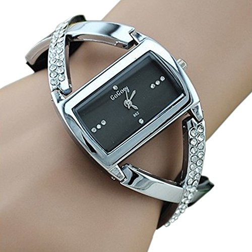 Women's Crystal Analog Quartz Bracelet Wrist Watch Black
