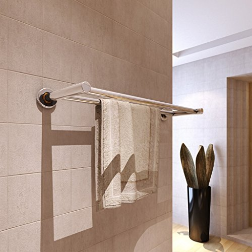 Bathroom Double Towel Bar Stainless Steel Bath Wall Shelf Towel Rack 23-Inch Hanging Towel Dual Hanger Towel Wall Mount Polished Finish (2 Tubes) (Countertop White End Cap compare prices)