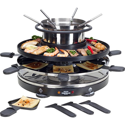 NOUVEL CASTELLO Appareil à fondue multifonctions pour fondue bourguignonne/chinoise, grillades, raclette