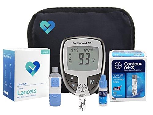 Bayer Contour NEXT Complete Diabetic Blood Glucose Testing Kit, EZ Meter, 10 Test Strips, 10 Lancets, Adjustable Lancing Device, Control Solution, Owners Log Book & Manual