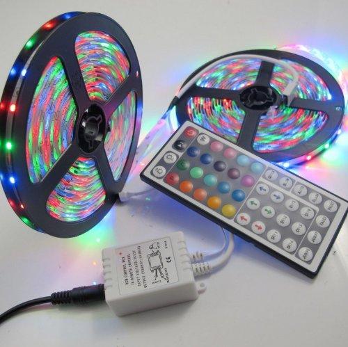Rextin 10M 2X5M 3528 Smd Rgb 600Leds Led Light Strip Lamp 44Key Ir Remote Controller
