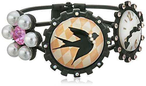 Betsey Johnson Wonderland Bird and Clock Hinged Bangle Bracelet, 2.5