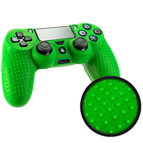 Playstation-4-STUDDED-Controller-Skin-by-Foamy-Lizard--ParticleGrip-Premium-Protective-Anti-slip-Silicone-Grip-Case-Cover-for-PS4-Controller-Photon-Green
