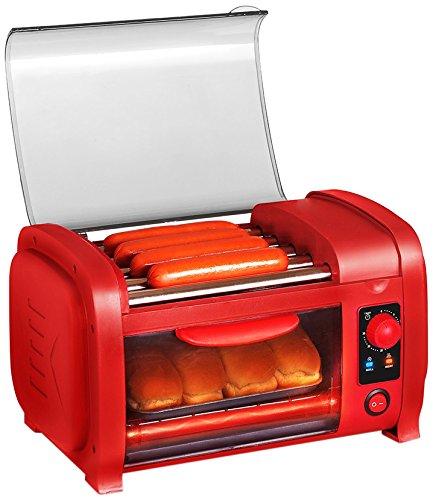 Elite Cuisine EHD-051R Maxi-Matic Hot Dog Roller Toaster Oven Combo, Red (Coffee Maker Toaster Oven Combo compare prices)